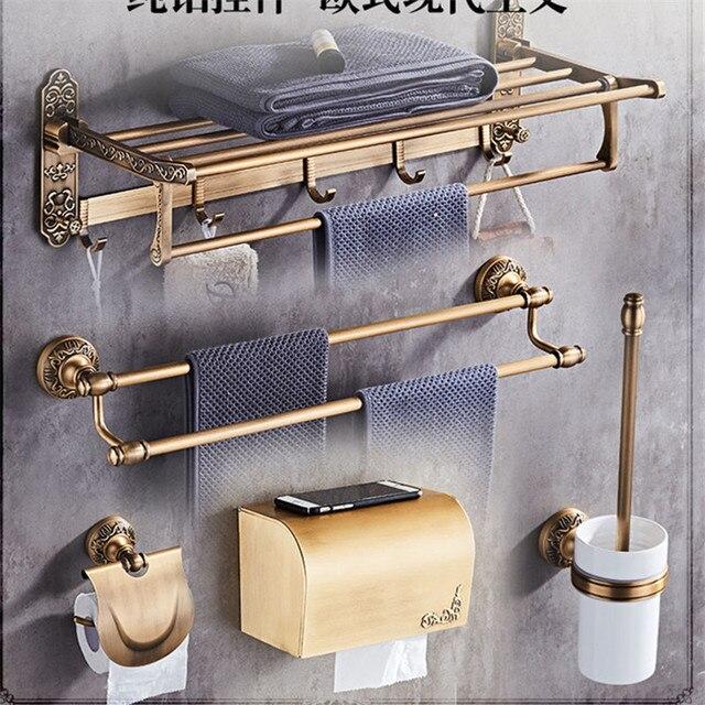 European Bathroom Hardware Set Antique Pendant Aluminum Alloy Bath Retro Wall Hanging Accessories Bronze