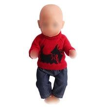 58029edb78043 Vêtements de poupée mignon pull rose costume + pantalon noir pantalon fit  43 cm bébé poupées
