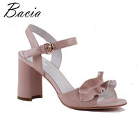 Bacia Fashion Pnk Full Grain Leather Sandals 9 2cm Sweet Pacthwork Thick Heels High Quality Genuine