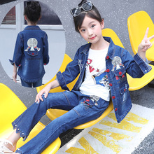 High Quality Jeans Clothing Set for Kids Girls Cartoon Bird Print Tshirt and Denim Jacket and Pants 3pcs Clothes Set 6 8 12 Year