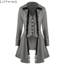 LITTHING Lace Trim Long Medieval Jacket Gothic Lady Cosplay Women Autumn Winter Solid Long Sleeve Three-Breasted Irregular Tops