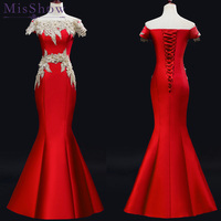 2019 Red Satin Prom Dress Mermaid Formal Evening Gowns boat Neck Special Occasion Dresses for Women vestido de gala 2019