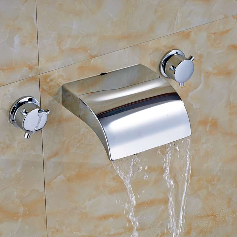 Modern Chrome Waterfall Widespread Bathroom Faucet Tub Basin Faucet Mixer Tap