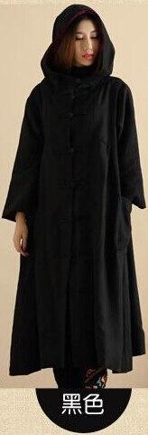 Осенне-зимний Тренч в стиле ретро с капюшоном из хлопка и льна, длинный халат волшебника, плащ-Пыльник, ветровка, Jaqueta Feminina - Цвет: Черный