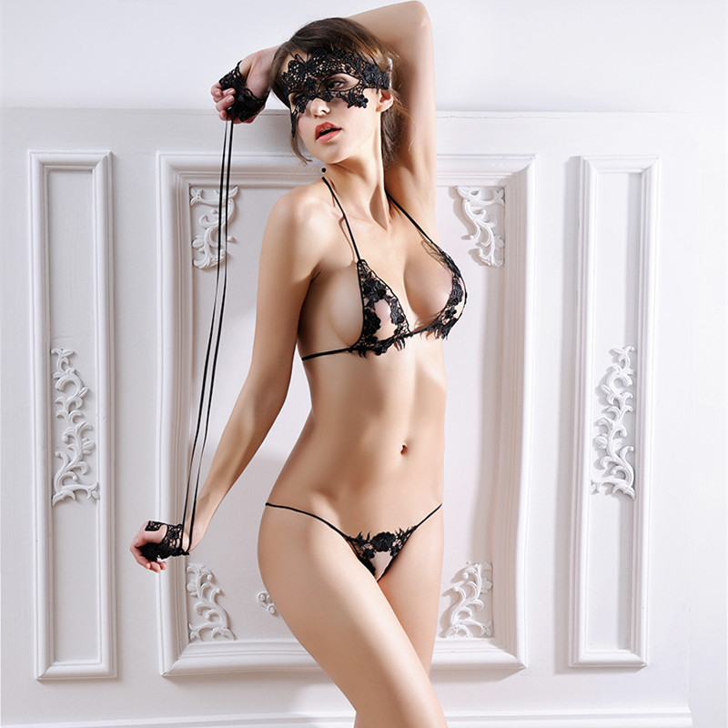 4pcs Set Women Bra Set Sexy Mask + Hand Circle + Bra Brief Sets Underwear Lingerie Black Lenceria