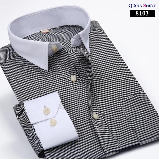 2016 Free shipping Men's brand long sleeve dress shirt spring  striped casual business formal shirts for men large size