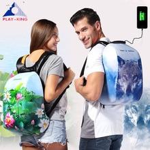Анти кражба лаптоп печат раница пътуване жени водоустойчив раница usb зарядно компютър чанта за мъже найлон раница USB чанта  t