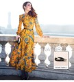 2016 Vintage Floral Print Long Sleeve Women Maxi Dress Button Slim Fit Flare Muslim Party Long Yellow Dresses Plus Size XXXL