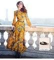 2016 do vintage print floral botão de manga longa das mulheres maxi dress slim fit flare partido muçulmano longo amarelo vestidos plus size XXXL