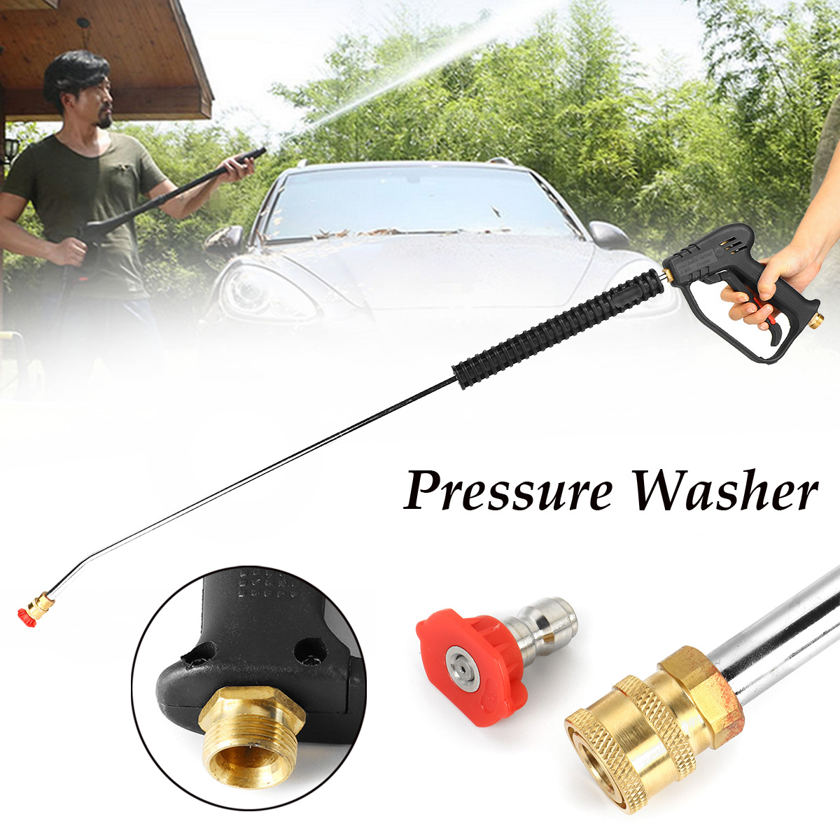 New 1065mm Car Pressure Washer Spray-Gun Wand Lance Nozzle Tips M22 Quick Connector Kit for Car Washing Tool car washer water spray gun lance nozzle high pressure cleaner washers