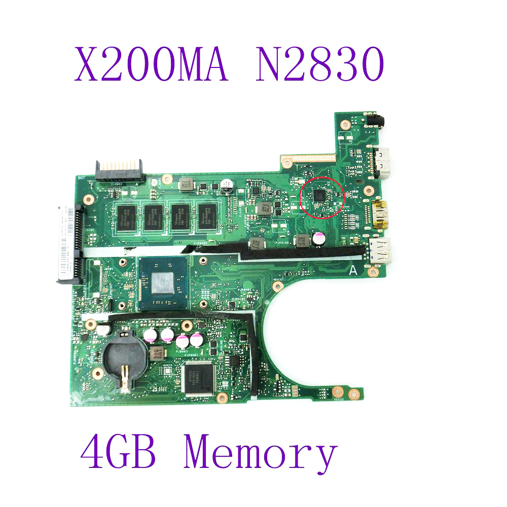 X200MA N2830 4GB RAM Mainboard REV 2.1 For ASUS F200MA F200M X200M X200MA laptop Motherboard 100% Tested Free Shipping for asus motherboard f200ma f200m x200m x200ma rev2 1 mainboard with n3540u 4g memory test 100