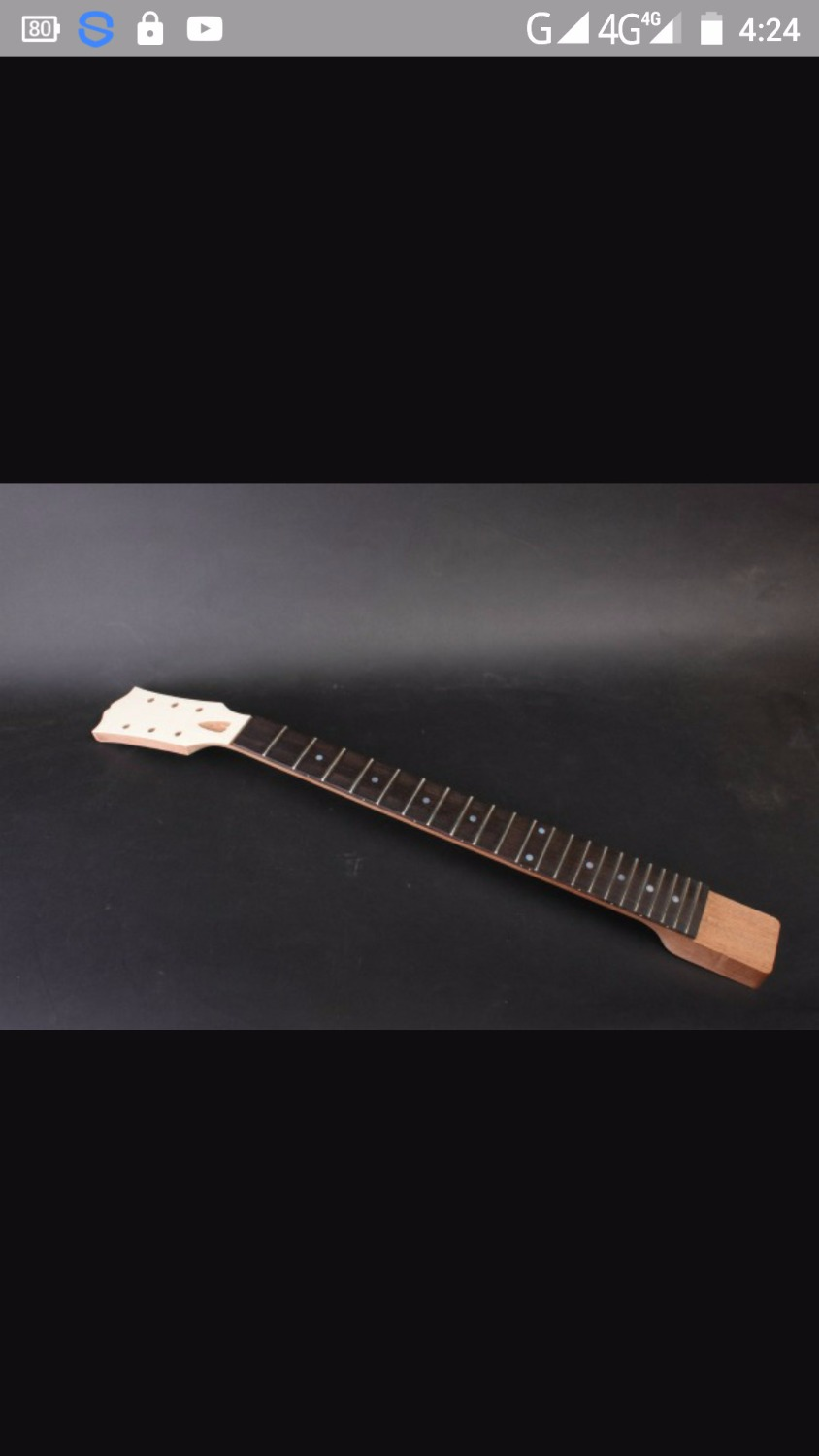 one electric guitar neck  Mahogany made and  rosewood  fingerboard 22 fret  628mm  24.75 dot inlay, 12 inch radius black color 24 frets holt on one electric guitar neck mahogany wood and rosewood fingerboard 171