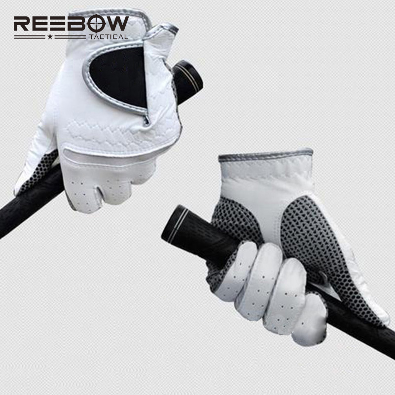 one pair of Genuine Leather White Golf Gloves High Quality Soft Breathable Sheepskin Men Women Sports Outdoor