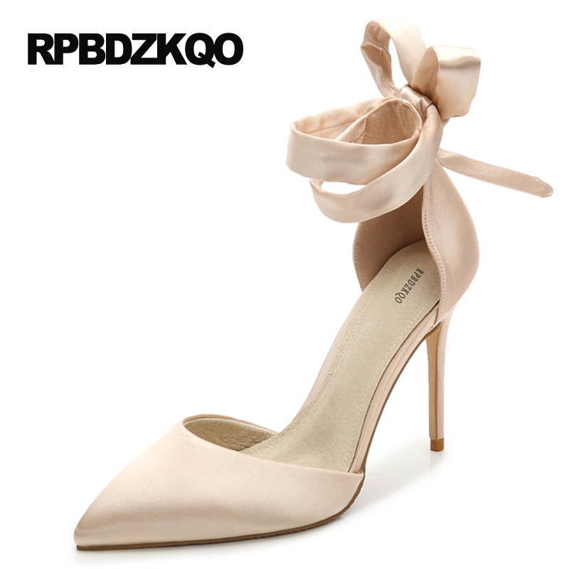 цены Ankle Strap Shoes Nude Pumps 2017 Satin Pointed Toe 9 41 4 Inch Heels Wedding Scarpin Ladies 11cm Extreme Plus Size Ribbon High