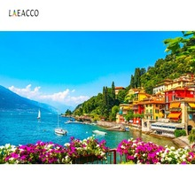 Photographic Backdrop Village And Yacht In Little Bay Harbor Ship Tropical Summer Scene Photography Backgrounds For Photo Studio
