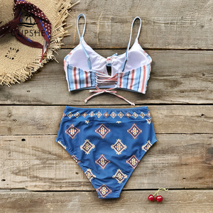 CUPSHE Red And Blue Print Knotted Bikini Sets Women High Waist Two Pieces Swimsuits 2020 Girl Beach Bathing Suits