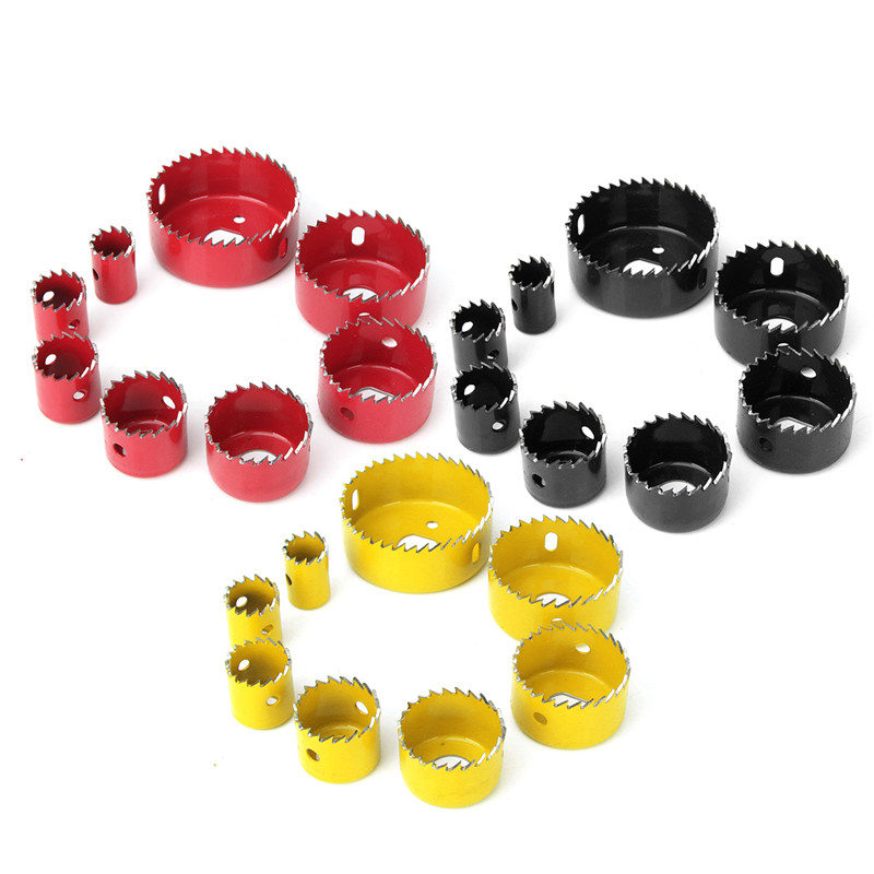 Doersupp 8Pcs Alloy Iron Wood Cutter Bimetal Hole Saw Twist Drill Bit Hex Wrench Kit 3 Colors for Choices