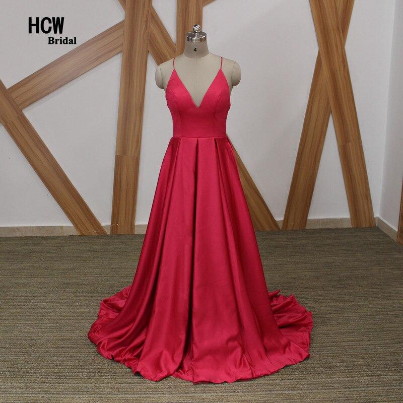 Голяма розова дълга вечерна рокля 2018 Секси гръбни спагети каишка Сладка сатенена рокля по случай Евтини арабски вечерни рокли