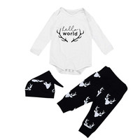 Children Clothing Baby Boys Girls Long Sleeve Romper Jumpsuit Pants Hat 3pcs Outfits Set Girls Clothes
