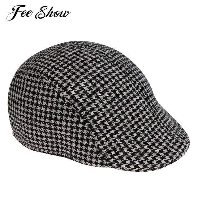 2afce358a29 Adult Mens Fashion Houndstooth Pattern Newsboy Flat Cap Hat Adult Men  Fashion Lightweight Stylish Professional Sweatband Cap Hat