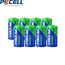 8 sztuk PKCELL CR123A 3V CR123A CR123 CR17345(CR17335) 16340 CR 123, CR17335 123A 2/3A bateria litowa akumulatorów do aparatu