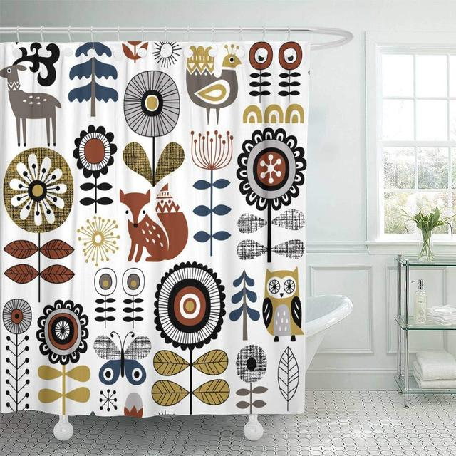 Shower Curtain With Hooks White Scandinavian Style Drawing Of Flowers Woodland Animals And Traditional Decorative Bathroom