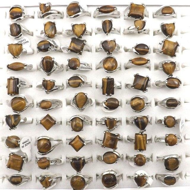 משלוח חינם טבעי עין נמר אבן טבעת נשים טבעות לקידום מתנה 50 יח\חבילה סיטונאי