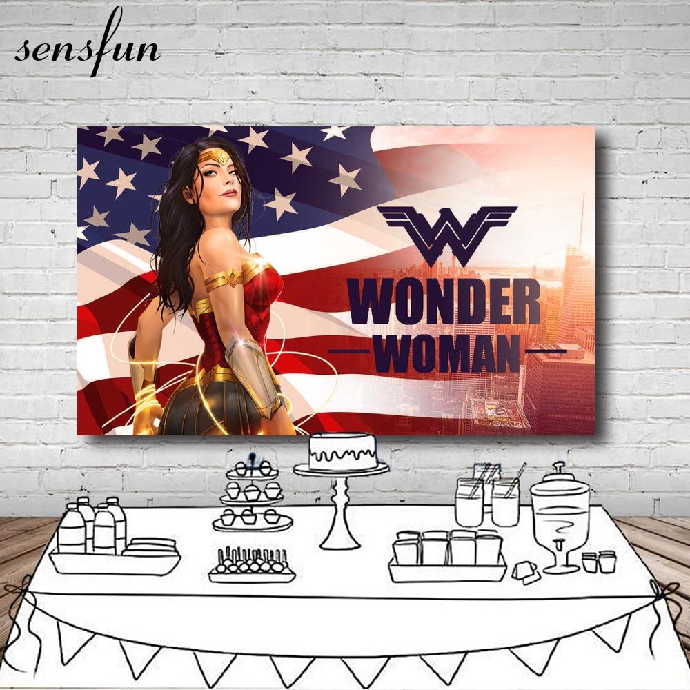 Sensfun Comics Wonder Women Photographic Backdrop National Flag Custom Name Backgrounds For Photo Studio Photocall