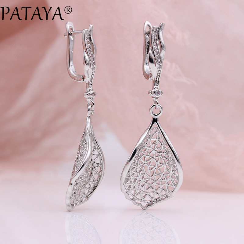 PATAYA New Gift Trendy 585 Rose Gold White Gold Natural Zircon Long Earrings Women Wedding Hollow Irregular Wave Earring Jewelry 4