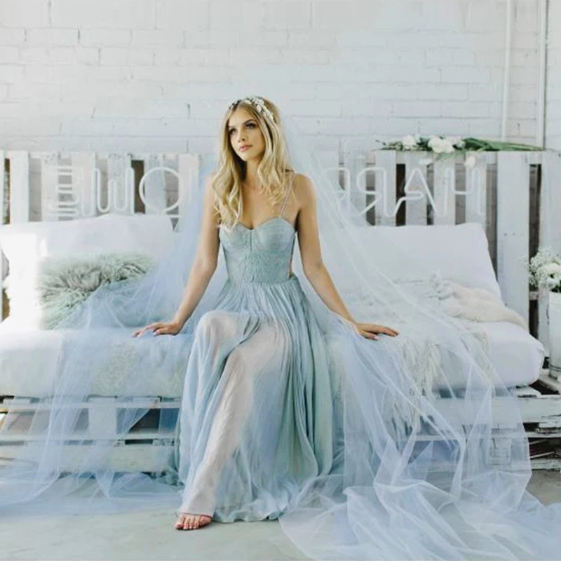 5 Meters Wedding Picture Bridal Extra Long 3M 5M Lake Blue Soft Mesh Tulle Lace Veil Women Bride Veils 300CM 500CM Without Comb