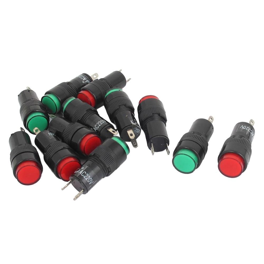 AC 220 V 2 P Signaling Lamps Red Green Pilot Lights Bulb Indicator 12 Pieces
