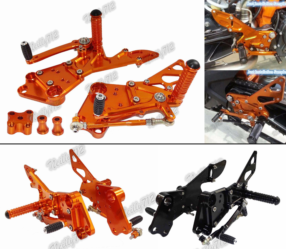 waase CNC Adjustable Rider Rear Sets Rearset Footrest Foot Rest Pegs For KTM Duke 125 200 390 2011 2012 2013 2014 2015 2016 цена