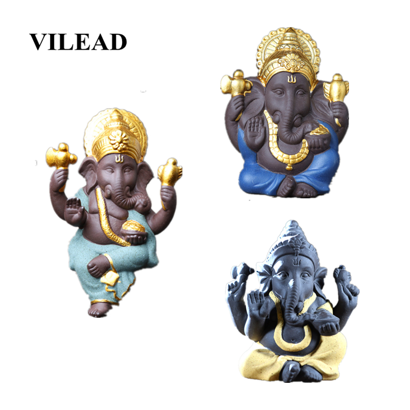 VILEAD 7.5cm 11cm Ceramic Elephant God Ganisa Statuettes Gold-plated Southeast Asian Ornaments Home Decoration Accessories Gifts
