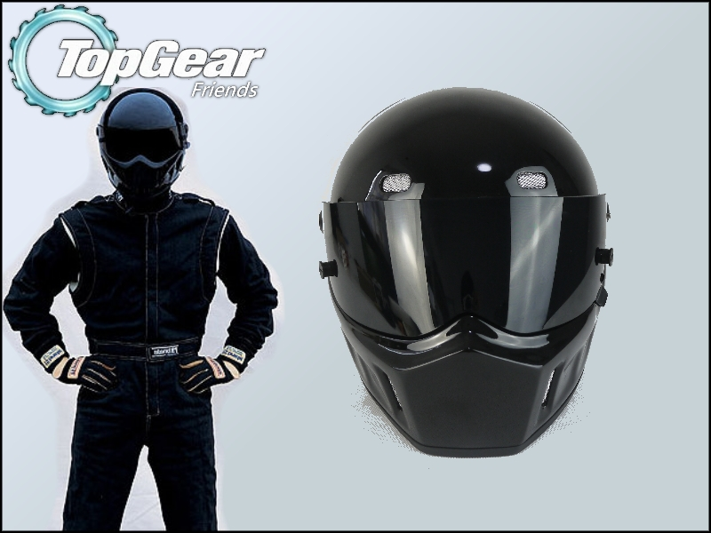 цена на High Quality ( Bluetooth ) First Generation TopGear Stig 1 Helmet Black Colour With Black Visor Top Gear Car / Motorcycle Helmet