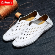 Men Leather Soft Bottom Sandals Hollow Breathable Flat Mens Shoes 2018 Summer New Loafers Casual 38-44