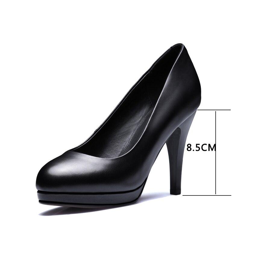 Cuir 2 black Femmes 42 Véritable Solide Dames Printemps 9 7cm 34 5 2 Haute Plate 7 Pompes Noir Black 8 5cm Ol forme Chaussures Cm En 2018 black 8 11 2cm 11 Mince Talon black Vinlle Taille 9 2cm apqvAw5g