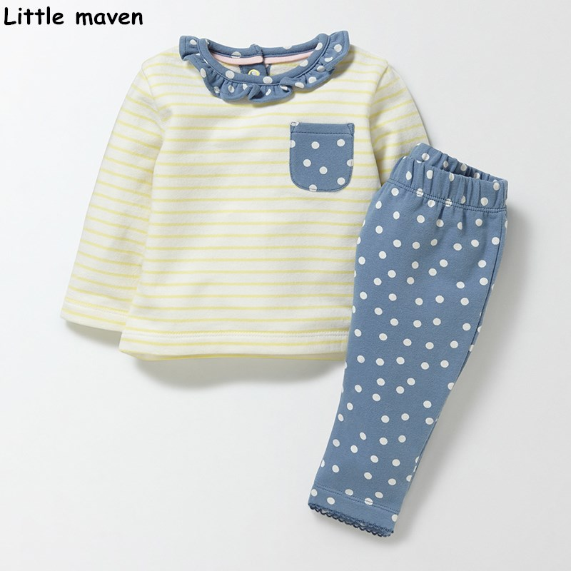 Little maven children's clothing sets 2017 new autumn Girls Cotton brand long sleeve striped pocket  t shirt + dot pants 20142 little maven kids brand clothes 2017 new autumn baby girls clothes cotton bird printing girl a line pocket dress d063