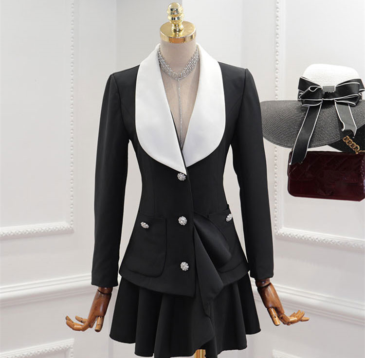 Couleurs Wang Mode Robe Entaillé Diamants Automne Hiver Ww Boutons 2451 Lady 2018 Manchettes Contraste Whitney Office Femmes 4qUXX