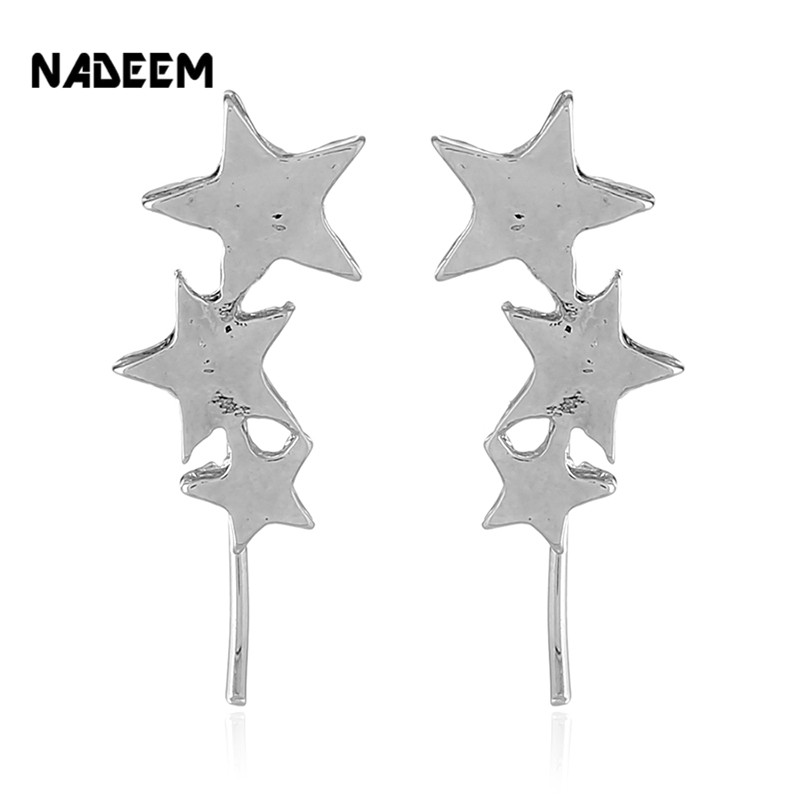 NADEEM New Fashion Trend Geometry Star Stud Earrings for Women Silver Color Metal Three Star Men Teens Stud Earrings Jewelry