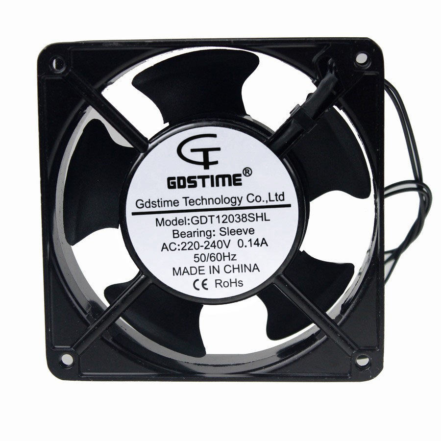 1 pcs Gdstime AC Fan 220V 240V 120mm 120x120x38mm AC Metal Exhaust Cooling Fan 12cm 4.68 inch 2 Wire Without Connector