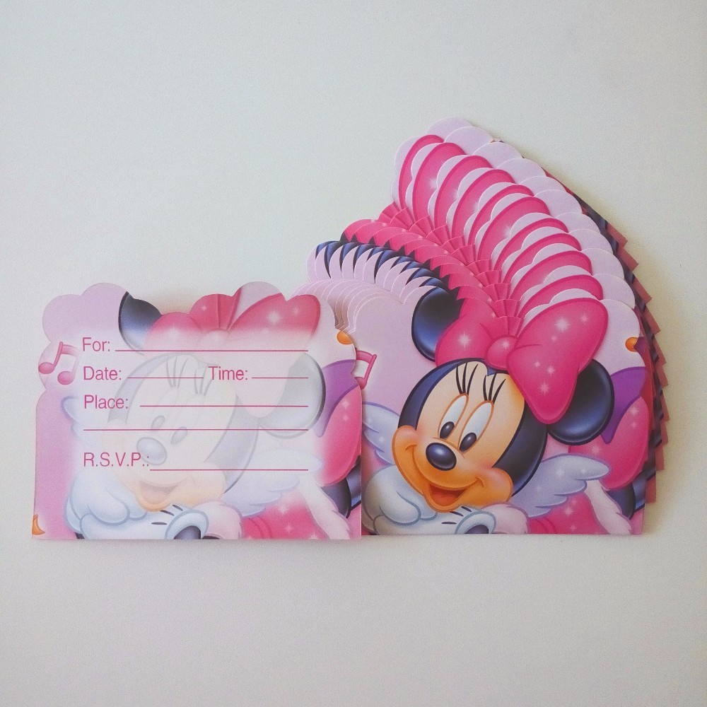 6 tarjeta de invitación de la historieta del ratón de minnie unids/bolsa tema te
