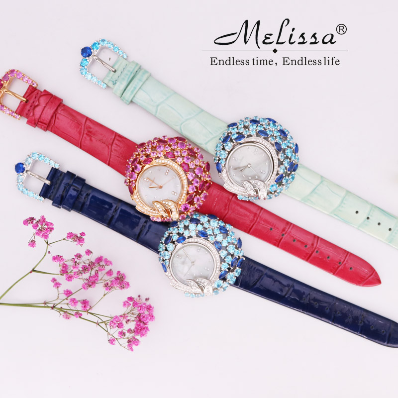 Women's Watch Hours Japan Quartz Fashion Hollow Dress Bracelet Real Leather Luxury Rhinestones Crystal Girl Gift Melissa Box melissa lady women s watch big hours japan quartz fashion dress leather clock luxury crystal hollow sun moon girl s gift box