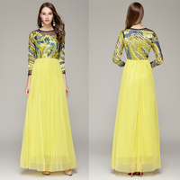 B0074 New Embroidery Tulle Yellow Prom Ball Gown Formal Long Sleeves Maxi Wedding Women Dresses A
