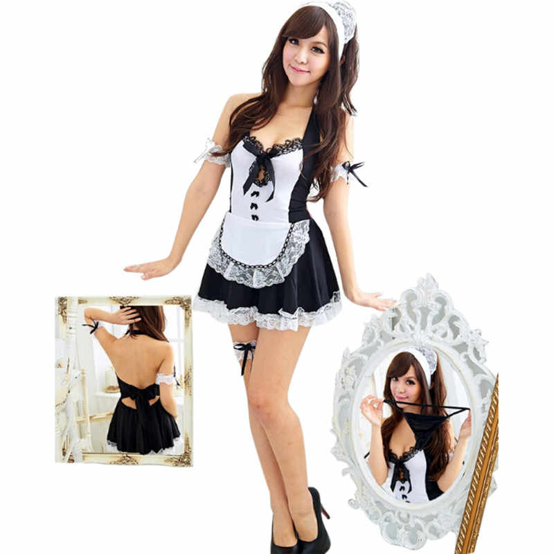 Sexy Schort Maid Outfit Sexy Lingerie Role-playing Game Pak Cafe Serveerster Kleding Uniform Verleiding + G-string