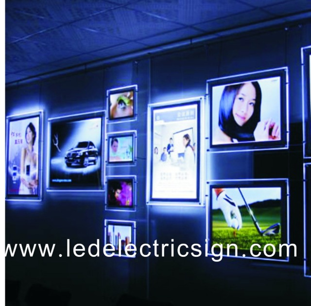 Wall Mounted Led Light Picture Frame Crystal Mirror For Window
