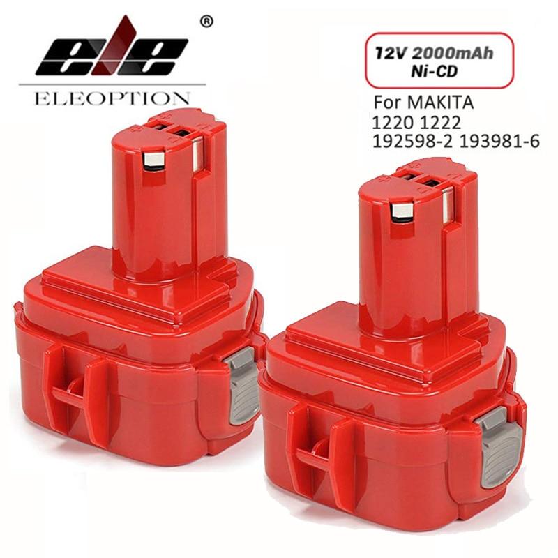 2PCS Rechargeable Battery for Makita 12V PA12 2000mAh Ni-CD Replacement Power Tool Battery for Makita 1220 1222 1233S 1233SB