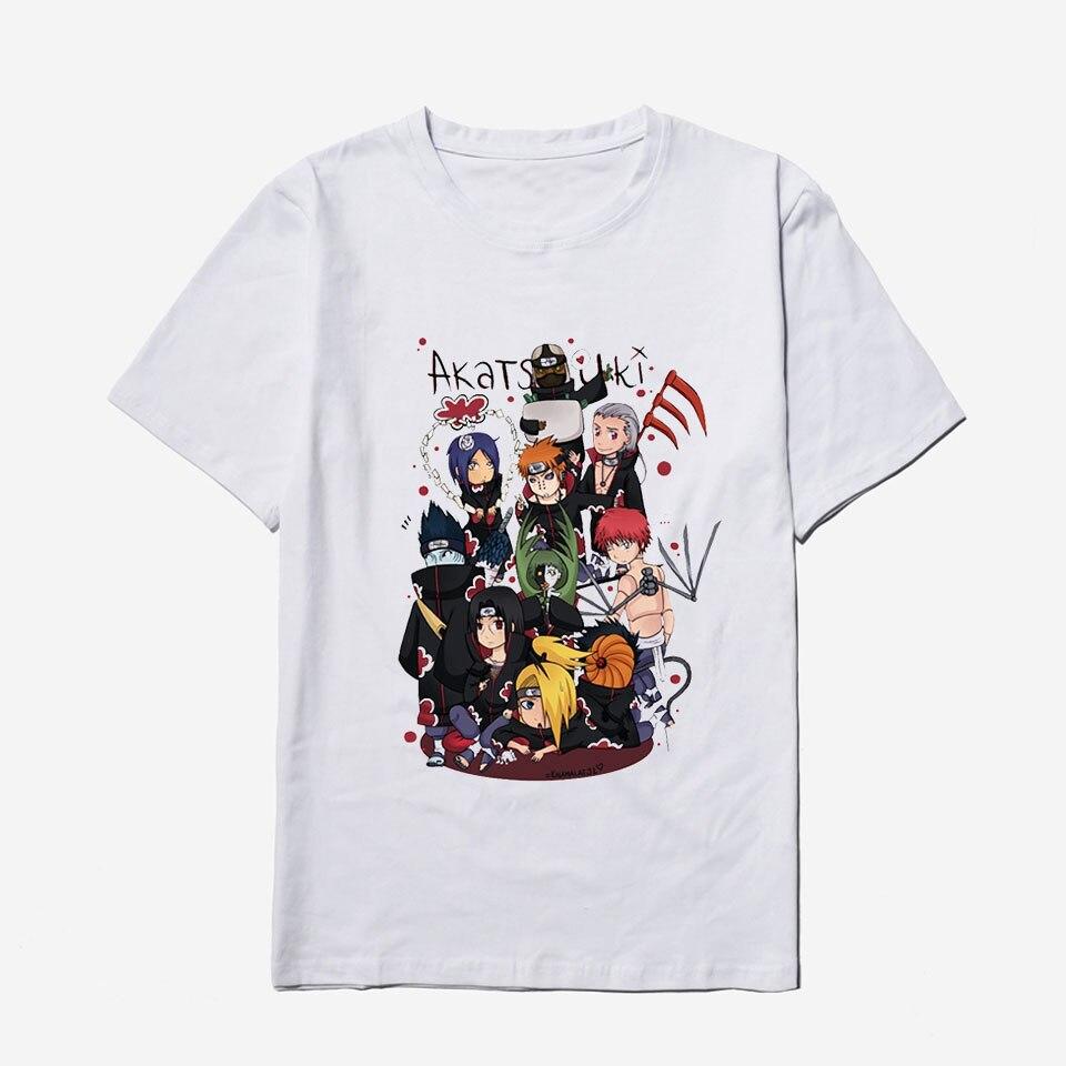 Anime Akatsuki Naruto Mens Tshirts Summer Cool Hipster Brand Fashion O-Neck Harajuku Hip Hop White T Shirt Men Cotton