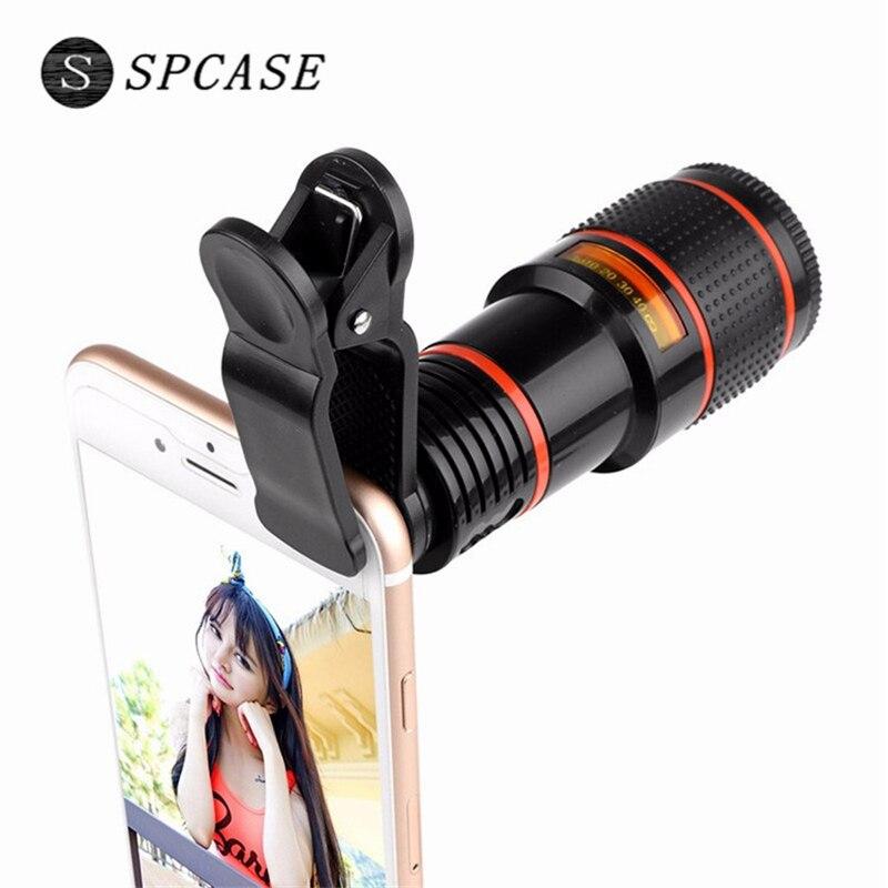 SPCASE Universel Clip 12X Zoom Téléscope Téléphone Objectif pour Apple iPhone Samsung Huawei SONY Xiaomi Externe Téléobjectif Camera Lens