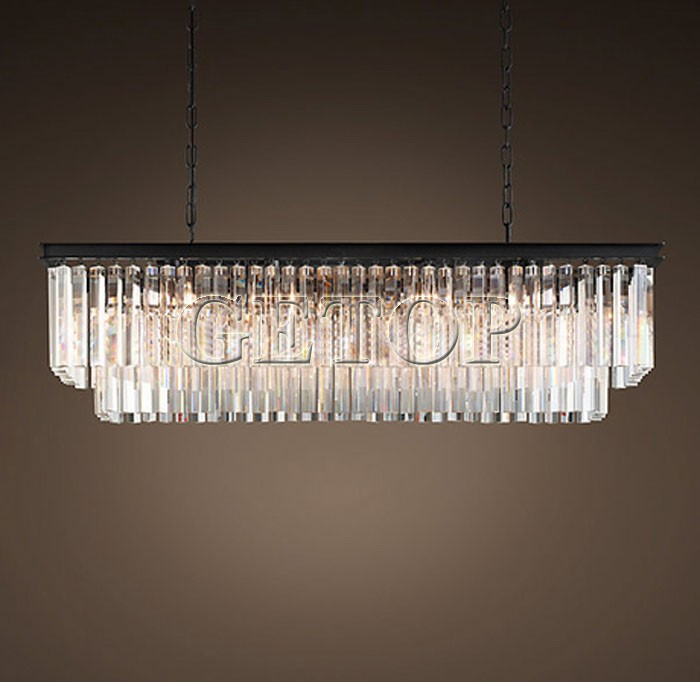 Z New Large American Country Crystal Chandelier Dining Room Creative Rectangular Crystal Pendant Lamp LED Lighting RH Chandelier american countryside crystal chandelier 4 heads e14 indoor lighting pendant lamp dining room chandelier lamps 220 110v wpl152