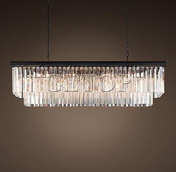 Z nouveau grand pays américain lustre en cristal salle à manger créative rectangulaire cristal suspension lampe LED éclairage RH lustre